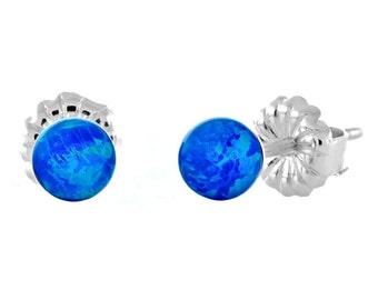 4mm Australian Pacific Blue Opal Ball Stud Post Earrings, Solid 925 Sterling Silver, Small Minimalist Earrings, Petite, Blue Opal Earrings