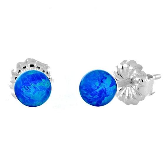 4mm Australian Pacific Blue Opal Ball Stud Post Earrings, Oceans, Solid 925 Sterling Silver