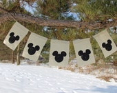 Mickey Mouse Burlap Banner, Mickey Mouse banner, birthday party decoration, kids photo prop, Disney Banner, Mickey themed party