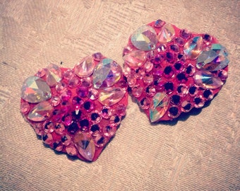 BURLESQUE VALENTINE'S  Rhinestoned Custom HEART Pasties