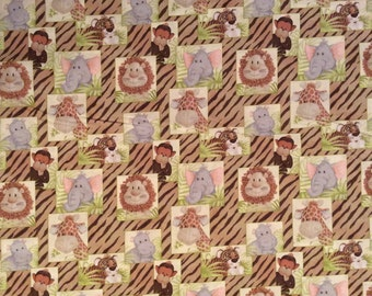 A Wonderful New Patty Reed Jungle Babies Blocks Tossed Cotton Fabric By The Yard Free US shipping
