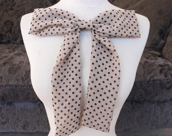 Cute  chiffon bow applique with polka dots print cream and black color