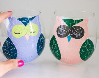 2 Mosaic Owl Hand Painted Wine Glasses in Pastel Candy Colors - Stemmed or Stemless