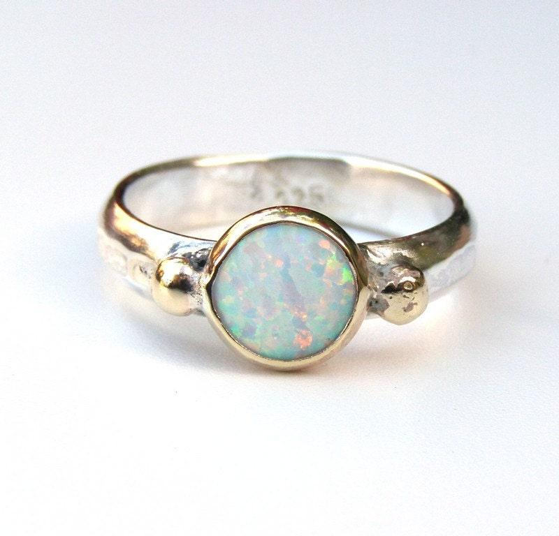 White opal ring Gemestone Engagement Ring 14k gold ring