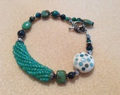KIT and PATTERN A Bead with a Twist  with lampwork, semi precious stone, & Czech glass