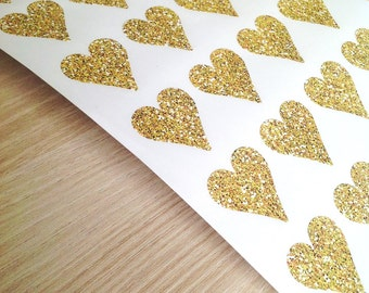 Gold glitter effect heart stickers - 28 x 30mm shaped stickers - envelope seals  -  42 stickers - Wedding seals - gift wrap