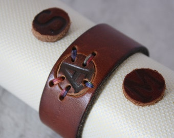Handmade Personalized Women's Leather Bracelet with Branded Initial (select your single letter)