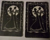 playing cards, black white vintage 4 standard size - couple dancing in moonlight 4 playing cards - altered art - swap cards - very old