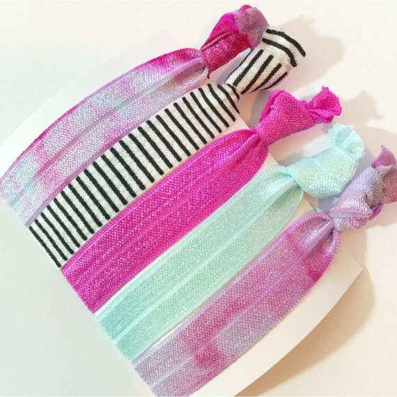 Set Of 5 Pack Of Tie Dye Elastic Hair Ties Hippie Crease Free