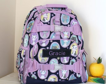 Small Girls Backpack With Monogram (Small Size) -- Navy/Lavender Kitty