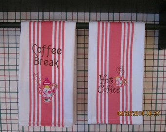 Appliqued  Dishtowels for the Coffee Lover