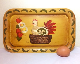 Vintage Farmhouse Decor Tray Laying Hen Chicken Hand Painted