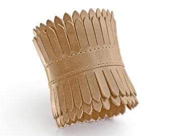 Beige leather cuff, camel cuff bracelet, light brown cuff   - the Elektra