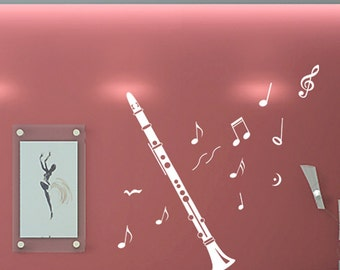 SALE Clarinet and 10 Music Note----Removable Graphic Art wall decals stickers home decor