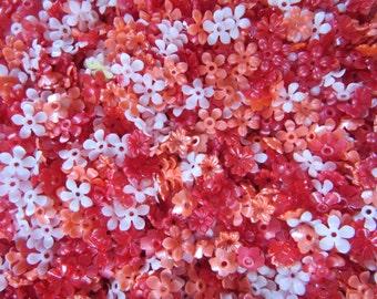 100 plastic FLOWERS 12mm to 14mm #1, Spring Break Fort Lauderdale,   craft supplies