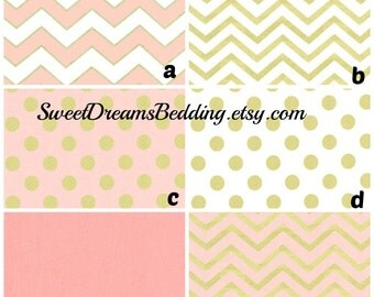 Custom Crib Bedding You Design   Bumper and Bedskirt Blush pink Gold Mettalic  Glitz Blush