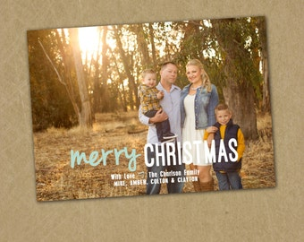 SAME DAY TURNAROUND Christmas Photo Card -- Custom Holiday Greeting Card -- One Picture or more -- Merry Christmas -- Calligraphy // 047