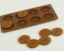 STEAMPUNK GEARS Cogs Wheels Silicone Chocolate / Candy Bakeware Mould for Cupcake Toppers, Wax Melts, Resin, Decorations