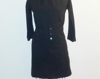 Vintage 1940s Dress - 40s Wool Dress - Midnight Black