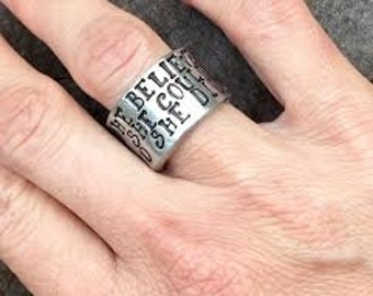 NEW-She Believed She Could So She Did-Pewter Cuff Ring