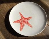 Red coral starfish ceramic round serving dish