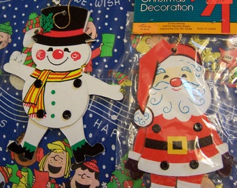 movable santa and snowman ornaments