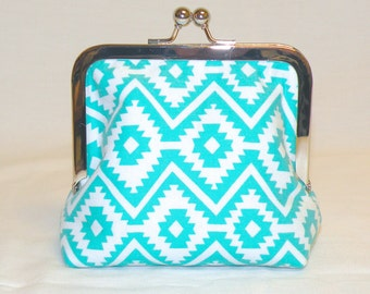 Palm Clutch in Turquoise and White Southwestern Pattern
