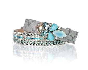 Set & Save bracelet set of two - fish leather bracelet with Swarovski crystal and vintage glass stones - miyuki delica bead loom bracelet
