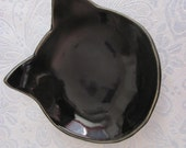 Handmade  Cat Dish Ceramic Pottery Ring Holder  Stoneware Black  Glaze Spoon rest