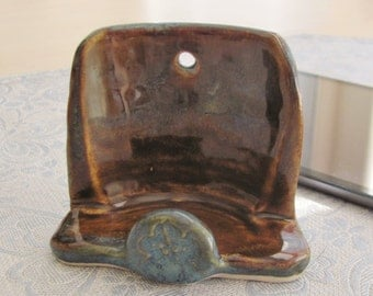 Cell Phone Holder Pottery Stand Business  Card Holder Stoneware Pottery Handmade Ceramic Blue and Brown Holder