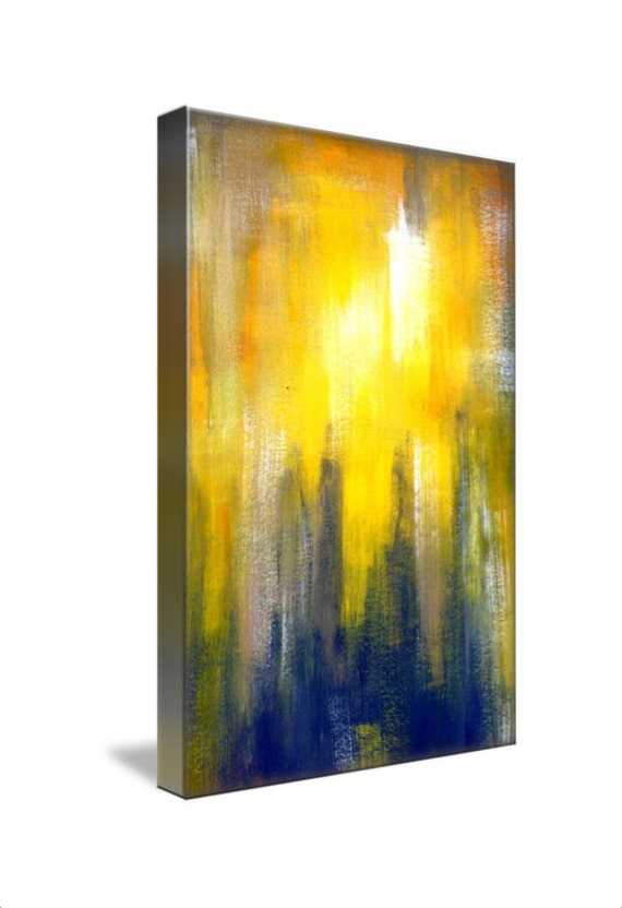 yellow and grey canvas wall art abstract art print by. Black Bedroom Furniture Sets. Home Design Ideas