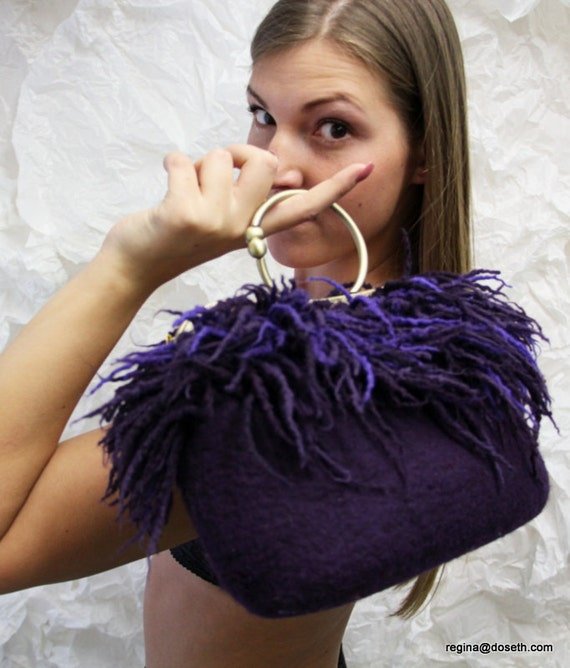 Felted purple  purse felt handbag wool purse lilac  small evening fringes red fire bag unique regina Doseth handmade in Lithuania EU