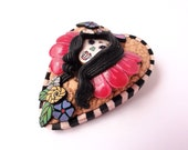 Pin up Dia De los Muertos brooch by Marie Segal 2014
