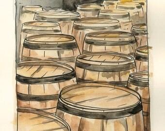 Woodford Reserve Distillery Barrels Watercolor Art Print, Bourbon, Whiskey, Kentucky, Bourbon Art
