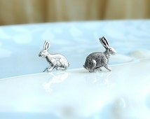Silver Bunny Rabbit Earrings, Easter Bunny Studs, Cute Bunny Studs, Cute Animal earring Studs, Everyday Jewelry, woodland jewelry