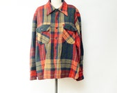 Vintage Plaid Wool Button Down Men's XL// 60s plaid wool shirt x large