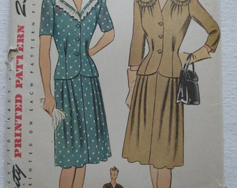 Vintage 40s Two Piece Dress Detachable Ruffled Collar Pattern Simplicity 4676 Size 18 Bust 36