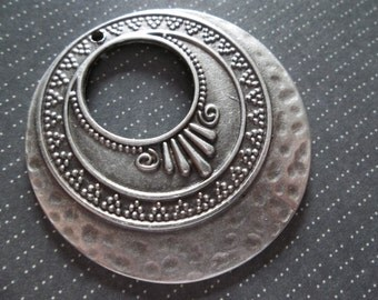 Large Silver Gypsy Earring Findings or Pendants - Ethnic Style - Oxidized & Antiqued Silver Sterling Plated Pewter - Qty 1
