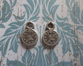 Single Link Small Sultan's Tughra Coin - Ethnic Tags - Two Sided Charms - Oxidized & Antiqued Sterling Silver Sterling Plated Pewter - Qty 6