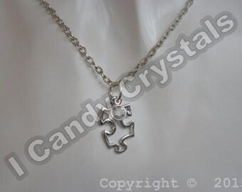 Puzzle Piece Crystal Silver Necklace