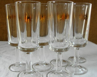 6 VINTAGE Cordial Stemmed Glasses With Gold Star Atomic Starburst Glassware