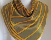 "Lovely Green Yellow Soft Acetate Scarf - 28"" Inch 66cm Square"