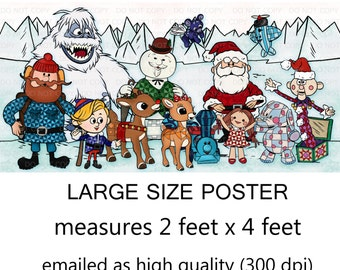 """Printable Christmas Rudolph Inspired Characters Wall Art Party sign 24""""x48"""" Poster"""