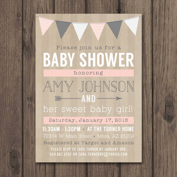 rustic baby shower invitation baby girl shower invitation