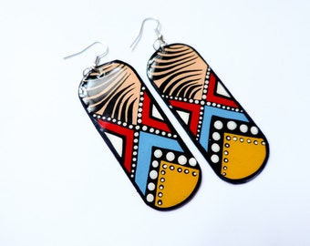 Long and Lean Handpainted Custom Shaped Modern Southwestern Inspired Earrings in Bright Red, Mustard Yellow and Turquoise