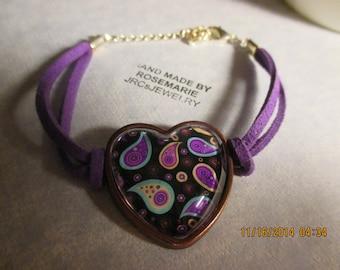 Colorful Paisley Heart Bracelet