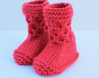 Knitted Seamless Baby Booties. Hand Knit Cabled Baby Booties. Red Baby Booties. Christmas Baby Booties