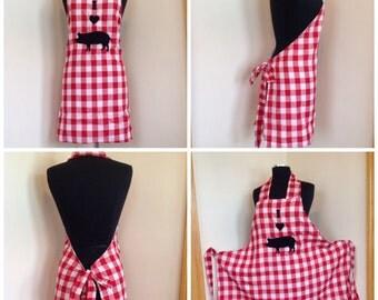 Handmade original design I heart pig BBQ style red and white checkered apron