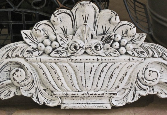 Large Architectural Wall Decor : Large carved wooden wall pediment architectural decor