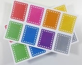 Decoration Stickers - Full Box Scallop Stickers - Rainbow Set of 8 - Stickers for Planners, Calendars or Diaries - MADE to ORDER